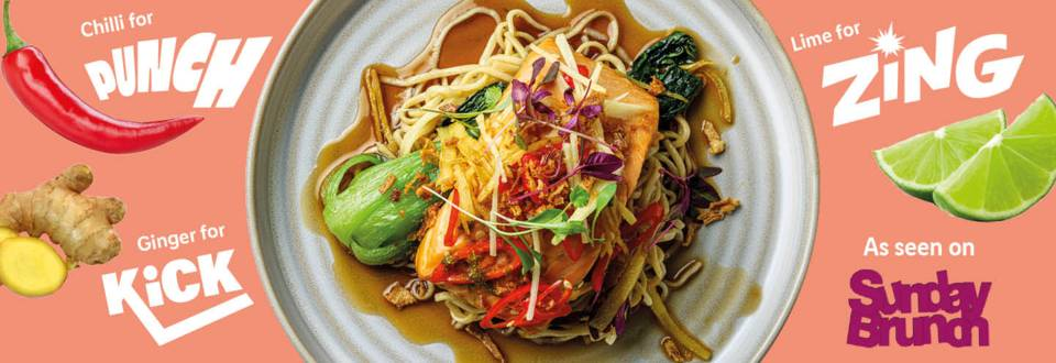 Sweet caramel salmon with noodles recipe image