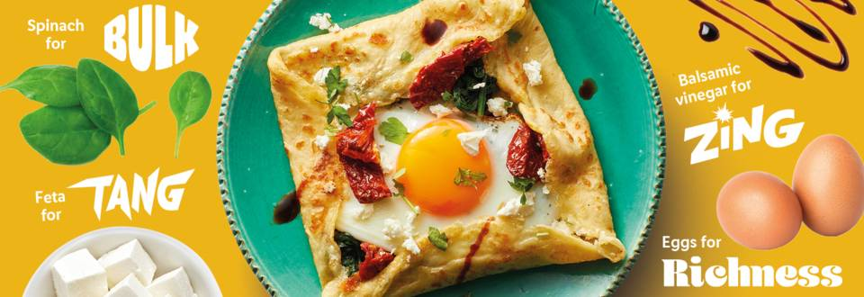 Tangy feta and egg breakfast crepe recipe image