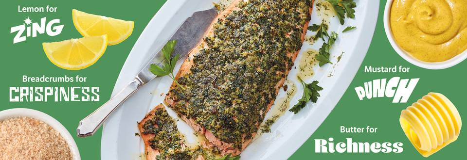 Side of salmon with a punchy herb and mustard crust recipe image