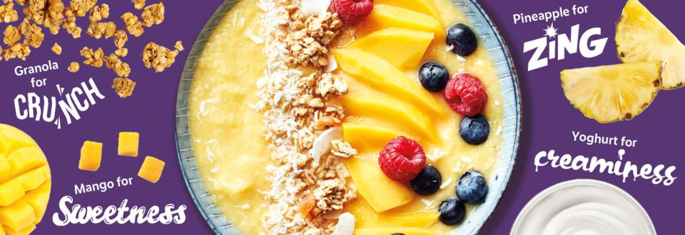 Fresh and zingy tropical smoothie bowl recipe image