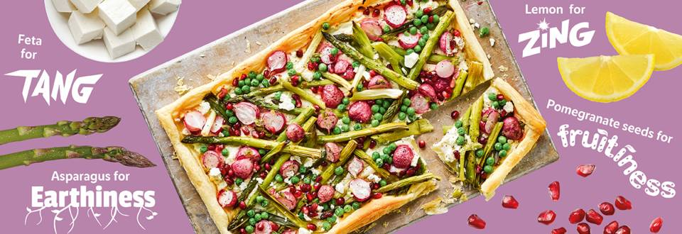 Tangy feta and spring vegetable tart recipe image