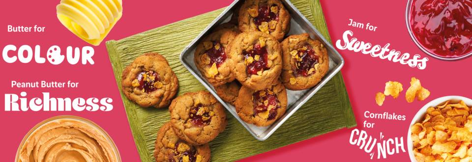 Crunchy peanut butter and jam cornflake cookies recipe image