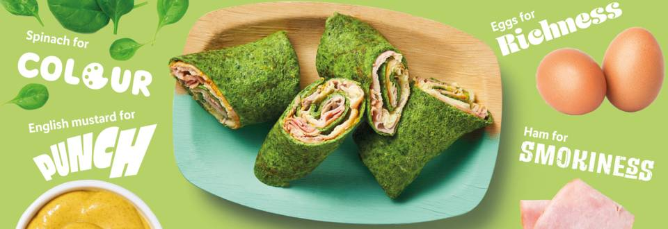 Punchy spinach wraps recipe image