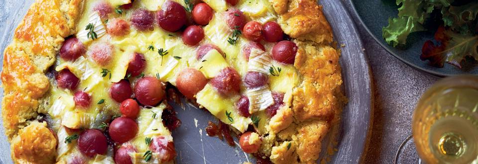 Brie and grape galette