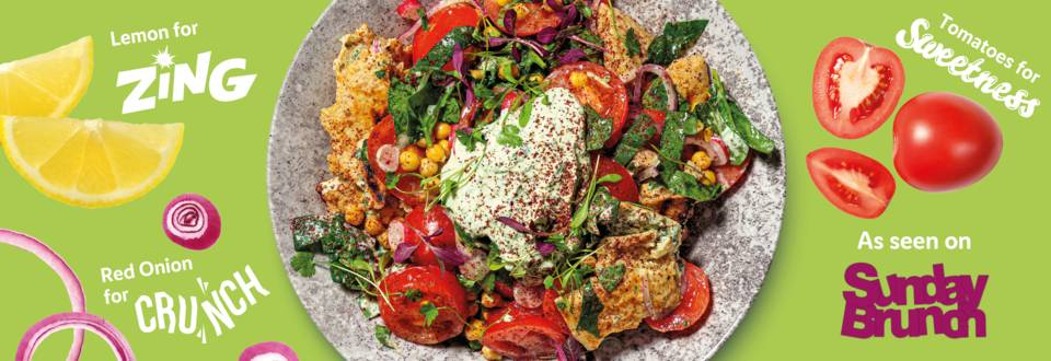 Sweet and crunchy tomato, chickpea and pitta bread salad recipe image