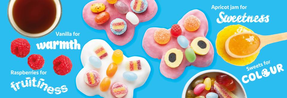 Colourful butterfly vanilla cakes recipe image