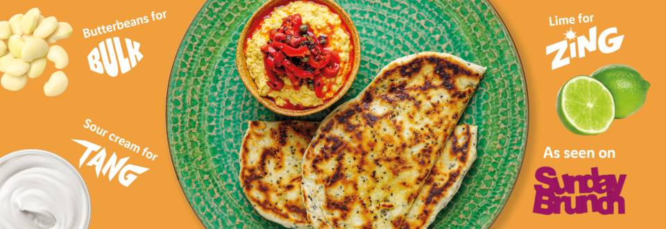 Tangy charred corn dip with simple flat breads recipe image